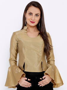 TAFET TOP WITH COLLAR AND FLARED BELL SLEEVES