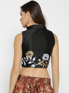 Printed Reversible Crop Top (One Side Gold One Side Black) Full Open Metal Zipper In Front
