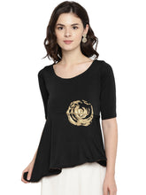 Load image into Gallery viewer, ASYMETRICAL HEM SHORT TOP-Women White & Gold Printed Knitted Empire Top