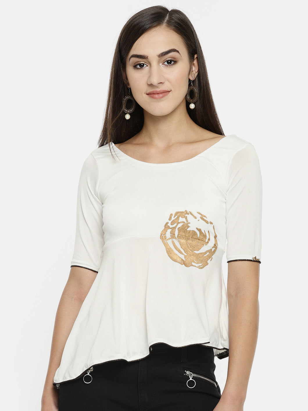 ASYMETRICAL HEM SHORT TOP-Women White & Gold Printed Knitted Empire Top