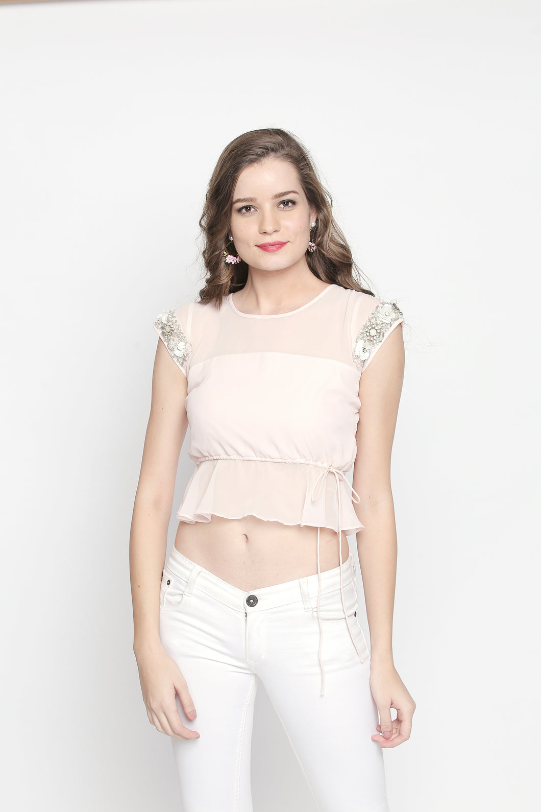 Georgette Bluse With Peplum And Embroidery