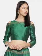 Load image into Gallery viewer, Cold Shoulder Reversible Top With Gold And Blackprint One Side Blue One Side Green