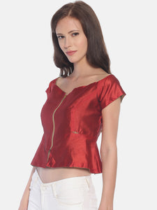 Reversible Top One Side Gold One Side Red With Full Open Metal Zip In Front