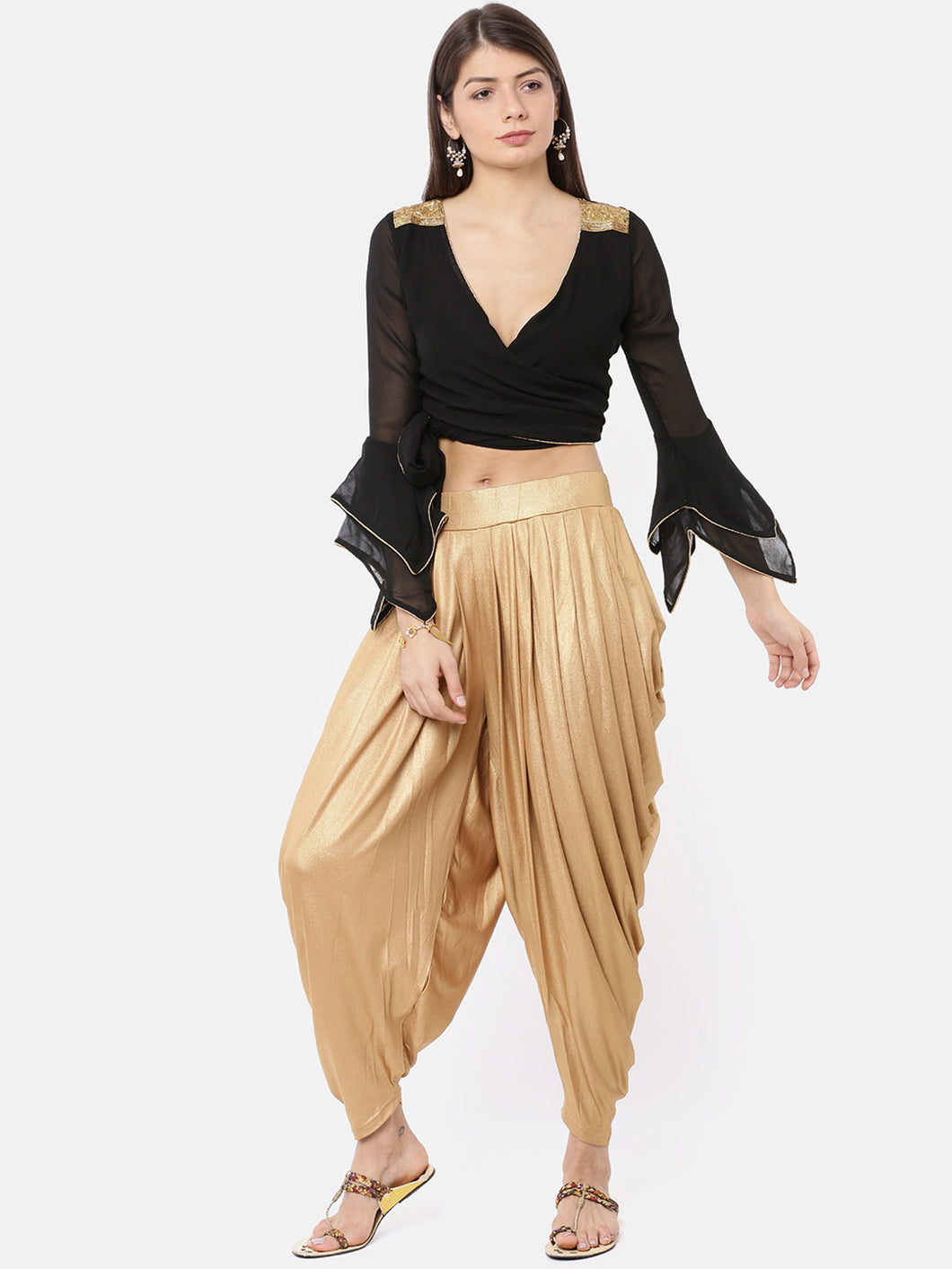 CHIFFON WRAP AROUND TOP EITH GOLD LACE TRIM AND MULTI LAYER BELL SLEEVES-Women Black Solid Crop Top
