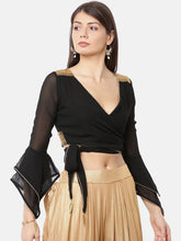 Load image into Gallery viewer, CHIFFON WRAP AROUND TOP EITH GOLD LACE TRIM AND MULTI LAYER BELL SLEEVES-Women Black Solid Crop Top