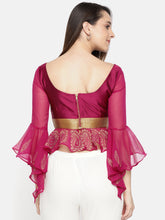 Load image into Gallery viewer, Satin And Chiffon Combination Top With Gold Print And Lace And Metal Zip