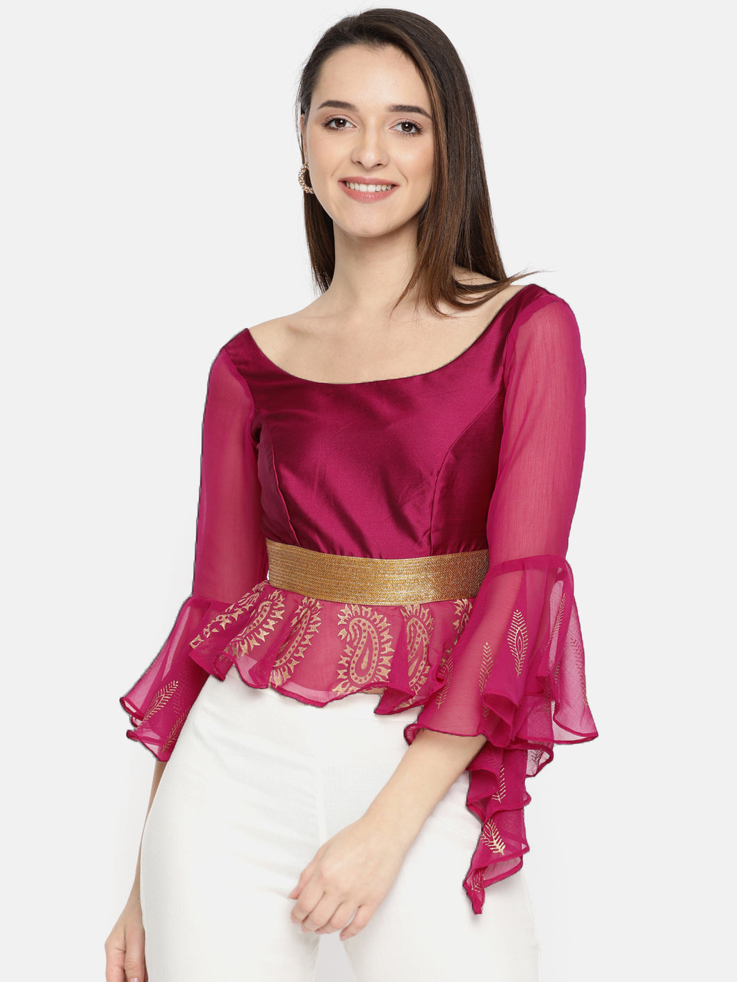 Satin And Chiffon Combination Top With Gold Print And Lace And Metal Zip
