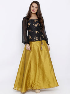 All over Gold printed Top with Georgette Puff Sleeves