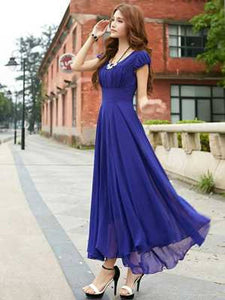 Royal Blue Maxi dress with Georgette sleeve - Tee-Zoo