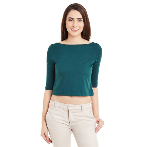 Green Solid Crop Top - Tee-Zoo