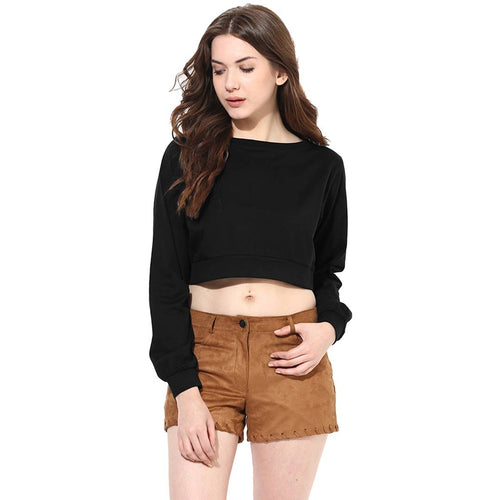 Black Solid Crop Top - Tee-Zoo