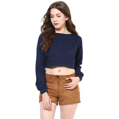 Navy Blue Solid Crop Top - Tee-Zoo