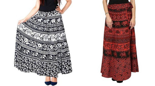 Jaipuri Women's 100% Pure Cotton Wrap Around Skirt Combo of 2 Skirts (Black & Beige) - Tee-Zoo