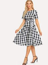 Load image into Gallery viewer, Women Cotton Black White Check Fit and Flare Dress - Tee-Zoo