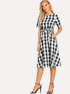 Women Cotton Black White Check Fit and Flare Dress - Tee-Zoo