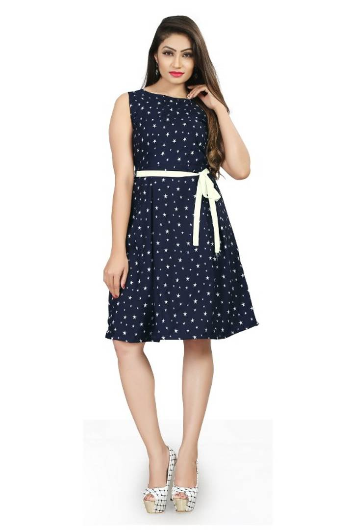 Blue Knee Length Fit and Flare Dress - Tee-Zoo