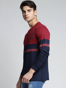 Men Multicoloured Cotton Self Pattern Round Neck Tees - Tee-Zoo