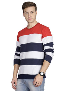 Multicoloured Cotton Striped Sweatshirt - Tee-Zoo