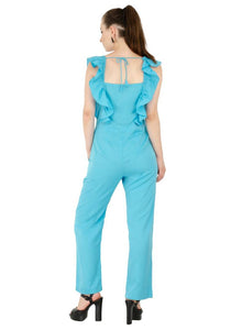 Women's Crepe Blue Casual Jumpsuit - Tee-Zoo