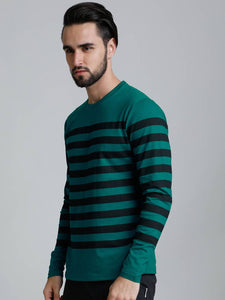 Dillinger Men's Green Striped Cotton Round Neck T Shirt - Tee-Zoo