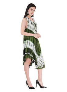 Women's Rayon Multicoloured Knee Length Dress - Tee-Zoo