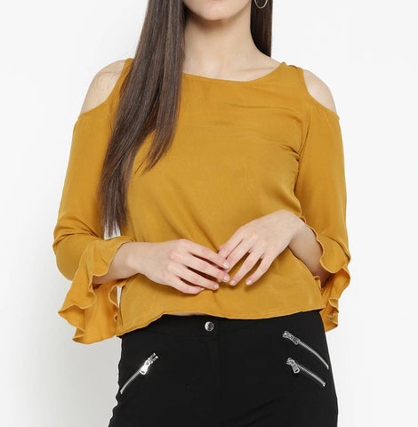 Yellow Solid Polyester Blend Blouse Top Tees - Tee-Zoo