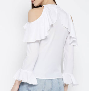 White Solid Polyester Blend Blouse Top - Tee-Zoo