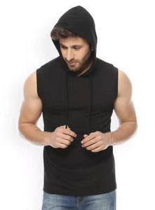Black Cotton Solid Hooded Tees - Tee-Zoo