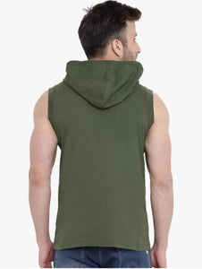 Green Cotton Solid Hooded Tees - Tee-Zoo