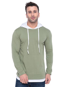 Gritstones Moss Green/ White Full Sleeve Hooded T Shirt - Tee-Zoo