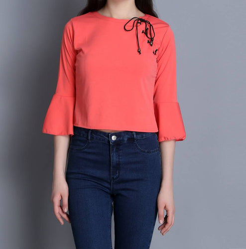 Women's Pink Solid Cotton Blend Crop Top - Tee-Zoo