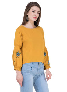 Women's Rayon Musturd Embroidered Top - Tee-Zoo