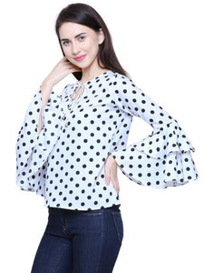 Western Stylish Long, Flared, Ruffled, Bell Sleeve, Round Neck, White Polka Print Regular Fit Top - Tee-Zoo