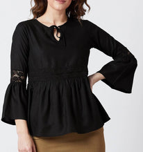 Load image into Gallery viewer, Black Solid Viscose Rayon Blouse Top - Tee-Zoo