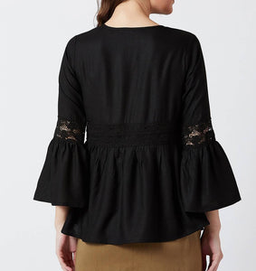 Black Solid Viscose Rayon Blouse Top - Tee-Zoo