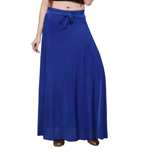 Blue Poly Crepe Stylish Skirt - Tee-Zoo