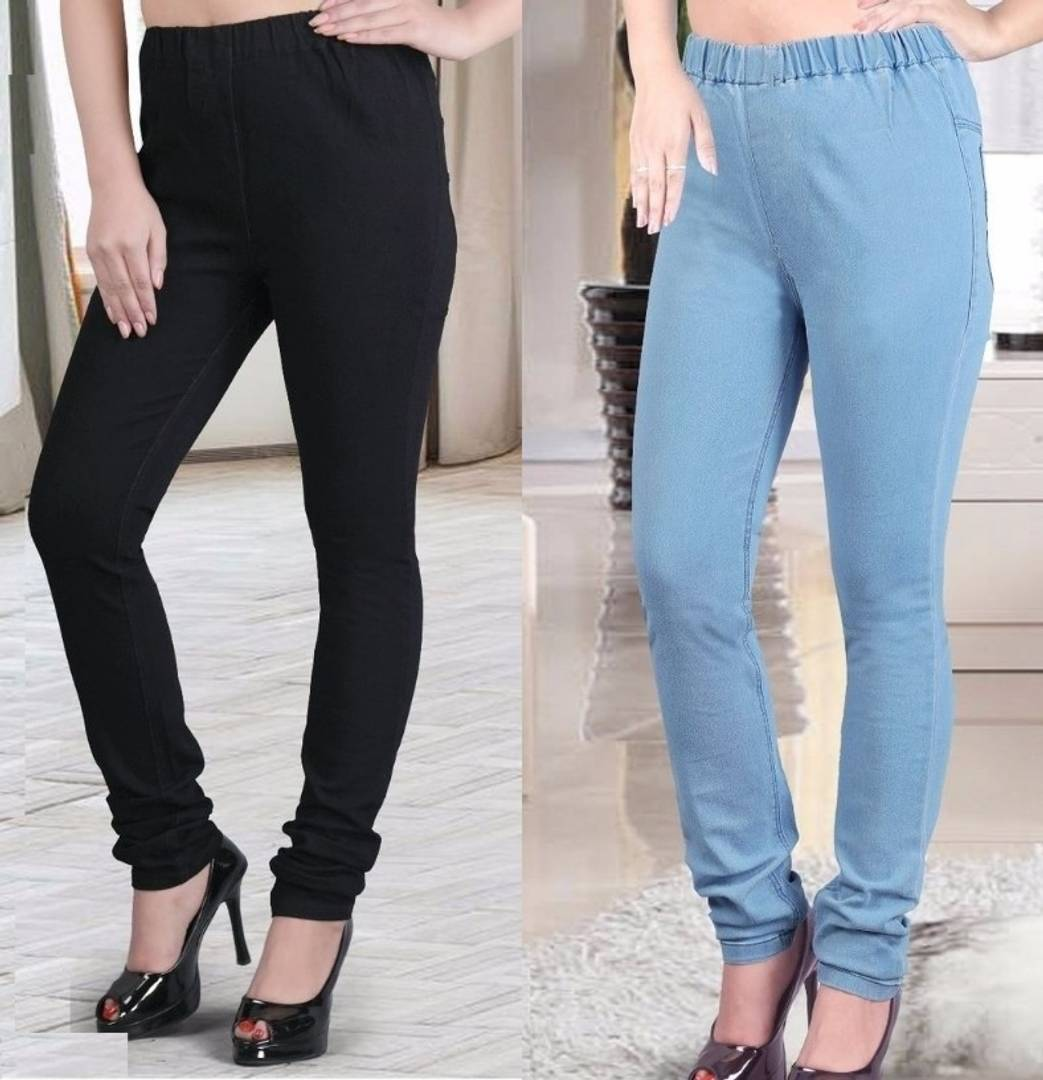Fashionable Denim Solid Jeggings Pack Of 2 - Tee-Zoo