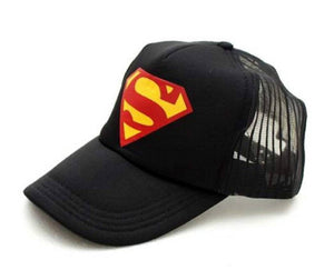 Men Black Half Superman Half Net Caps - Tee-Zoo