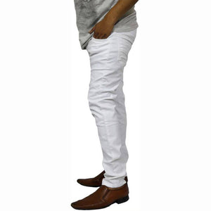 Men's White Cotton Blend Slim Fit Mid-Rise Jeans - Tee-Zoo