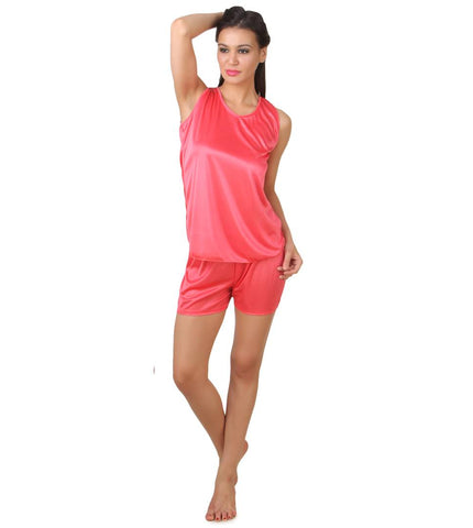 Women's Satin Top & Shorts Night Suits - Tee-Zoo