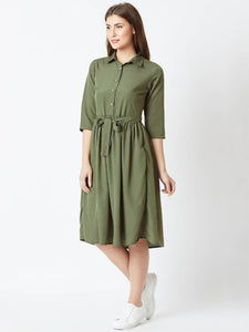 Olive Solid Collar Crepe Fit and Flare Dress - Tee-Zoo