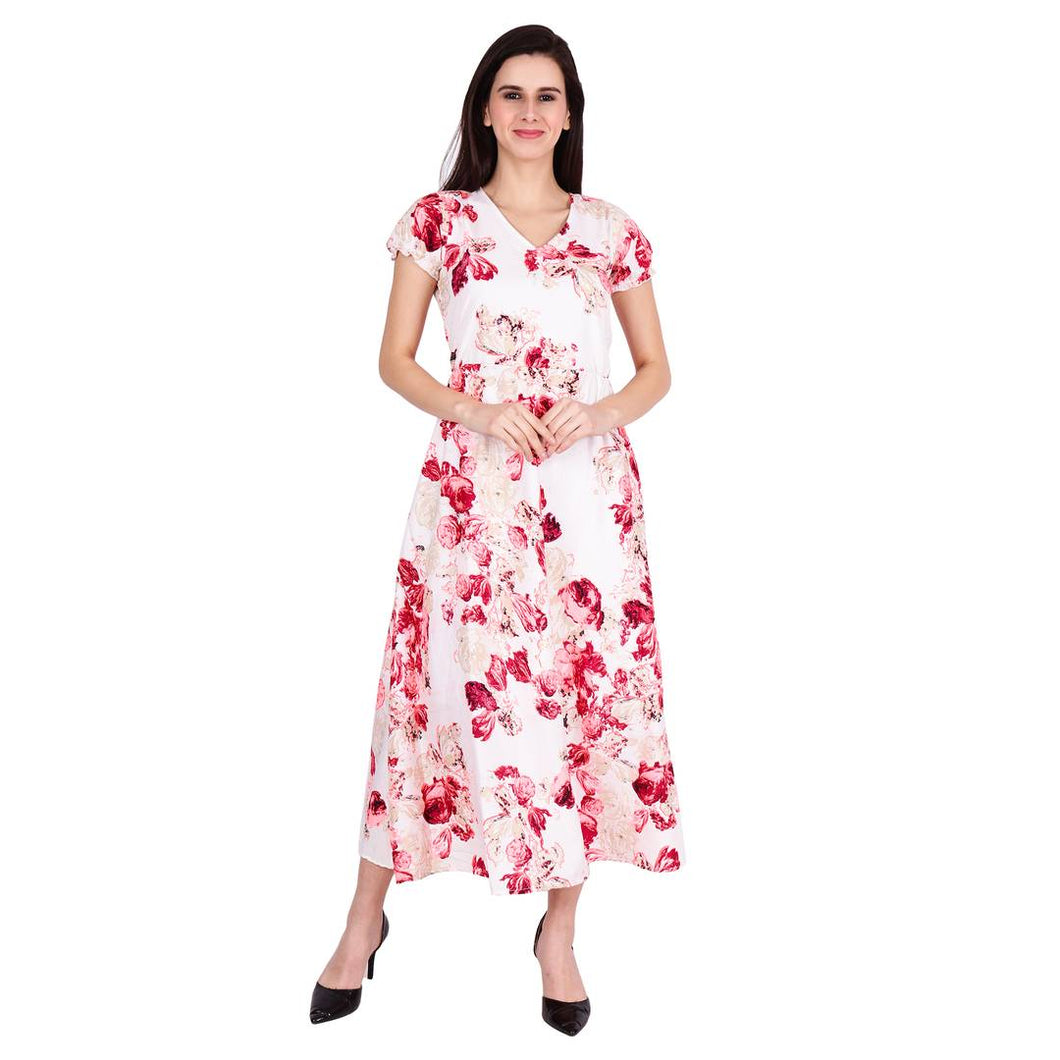 Floral Printed Long Maxi Dress - Tee-Zoo