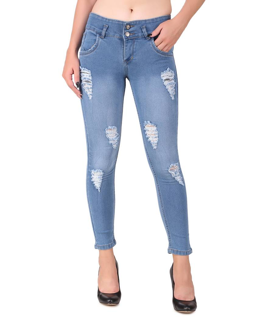 Trendy Blue Denim Jeans For Women's - Tee-Zoo