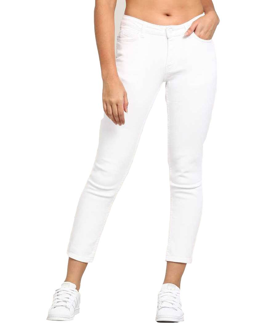 Trendy White Denim Jeans For Women's - Tee-Zoo