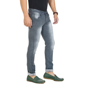 Men's Grey Cotton Blend Acid Wash Slim Fit Mid-Rise Jeans - Tee-Zoo