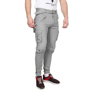 Men's Grey Cotton Blend Mid-Rise Solid Regular Fit Cargo - Tee-Zoo