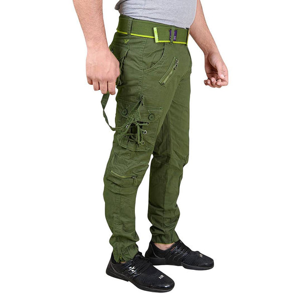 Men's Green Cotton Blend Mid-Rise Solid Regular Fit Cargo - Tee-Zoo
