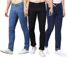 Load image into Gallery viewer, Men's Regular Fit Mid Rise Stretchable Jeans Combo Of 3 - Tee-Zoo