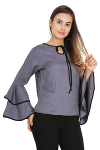 Women Grey Piping High Flair Bell Sleeves Top - Tee-Zoo