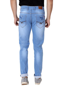Men's Blue Denim Faded Slim Fit Low-Rise Jeans - Tee-Zoo